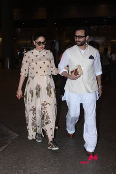 Saif and Kareena Kapoor Khan return from Hyderabad Pictures Maternity Wear, Maternity Dresses, Maternity Fashion, Indian Attire, Indian Wear, Saif Ali Khan Kurta, Kareena Kapoor Suit, Dresses For Pregnant Women, Clothes For Women