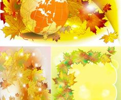 Autumn leaves backgrounds vector