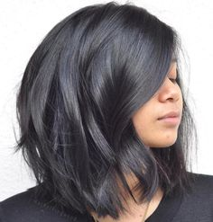 Black Lob With Loose Waves