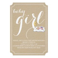 Sleeping baby girl shower vintage style minimal text design beige custom invitation in craft look paper and ticket style. Also available for boys. http://www.zazzle.com/sleeping_babyboy_shower_vintage_text_minimal-161521656404906096?rf=238228936251904937 #babyshower #babygirl #vintage