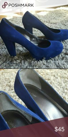 Calvin klein pumps Size 12 calvin klein regal blue platform pumps Calvin Klein Shoes Heels