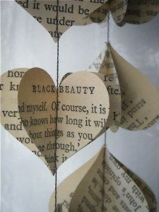 """recycled heart garland Book pages sewn together and then """"fluffed"""""""