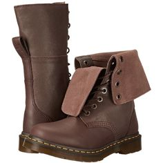 Dr. Martens Hazil Tall Slouch Boot (Dark Brown Virginia/Darkend Suede)... ($110) ❤ liked on Polyvore featuring shoes, boots, brown, mid-calf boots, brown suede boots, mid calf boots, brown slouch boots, tall lace up boots and suede boots