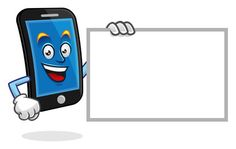 blank sign smartphone character, vector of cellphone mascot, mobile phone cartoon