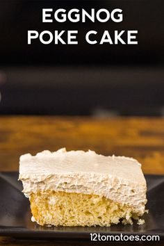 Eggnog Poke Cake A cool and creamy winter treat that's so easy to make. Pear Recipes, Cake Mix Recipes, Holiday Recipes, Dessert Recipes, Desserts, Winter Recipes, Holiday Treats, Christmas Recipes, Holiday Cakes