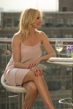 Perfect summer date night outfit. Nude slip dress with delicate gold jewelry. Cameron Diaz in The Other Woman
