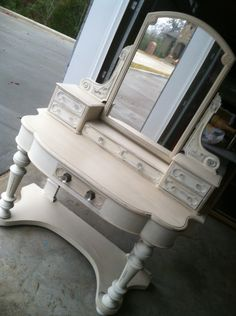 vanity painted in two tones of chalk paint