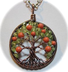 Orange Blossom Tree of Life Coral and by Mariesinspiredwire
