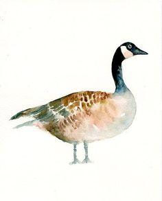 CANADA GOOSE Original watercolor painting 8X10inch(Vertical orientation). $25.00, via Etsy.