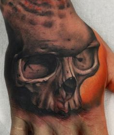 Shaking hands with the Ancients.  (artist John Anderton) #skull #hand #tattoo #InkedMagazine #inked #ink #tattoos
