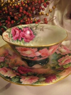 ANTIQUE TRESSEMANN & VOGT T&V LIMOGES FRANCE HAND PAINTED ROSES ~ FRENCH FLORAL ART FOOTED TEA CUP and SAUCER circa 1892 ~