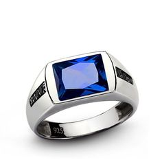 Mens Ring FINE STERLING SILVER Blue SAPPHIRE Gemstone with Onyx Classic Jewelry #Unbranded #Cluster