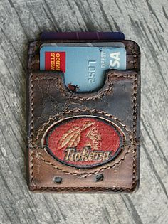 three-pocket wallet built from nokona baseball glove leather Best Wallet, Pocket Wallet, Card Wallet, Custom Wallets, Leather Working Patterns, Minimal Wallet, Wallet Tutorial, Handmade Leather Wallet, Custom Leather
