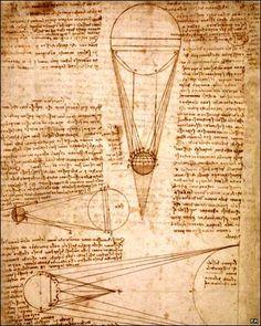 Leonardo DaVinci's notebook, illustrating his mirror writing.