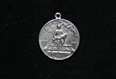 Sterling silver fireman rescue scene pendant medal coin medallion bracelet charm available at etsy.com thevintedge
