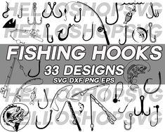 Kayak Stickers, Fish Hook, Heat Transfer, Stencils, Decals, Fishing, Clip Art, Iron, Silhouette
