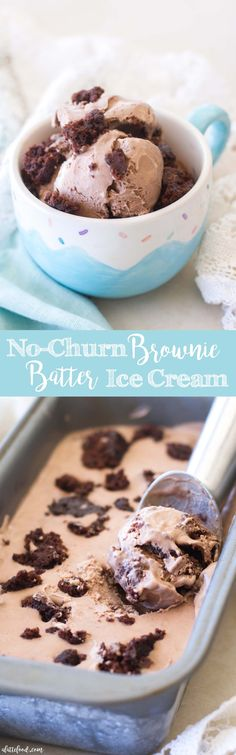 This easy no-churn brownie batter ice cream is made with only 4 ingredients ingredients if you want to add in brownie bites!) and tastes like chocolate covered brownie dreams. Cold Desserts, Ice Cream Desserts, Frozen Desserts, Summer Desserts, Ice Cream Recipes, Frozen Treats, Just Desserts, Delicious Desserts, Yummy Food