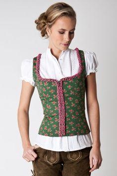 Trachtenmieder Camilla, grün/rose - Online Shop Ludwig und Therese
