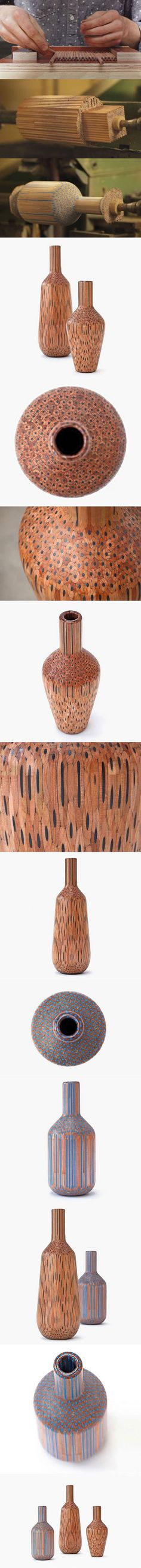 Man Transforms Pencils Into Beautiful Vases