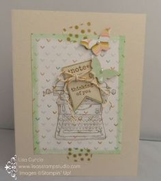 Vintage typewriter - check. Pearly butterflies - check. Gold Washi Tape - check.  Irresistibly simple and beautiful! Stampin' Up!, Tap, Tap, Tap, Bitty Butterfly punch, Lullaby designer paper