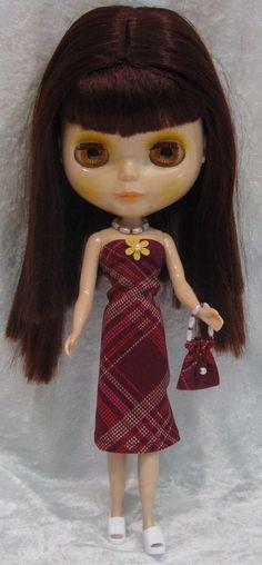 BLYTHE Doll Clothes #34 Handmade Dress, Beaded Necklace & Purse Set #HandmadebyESCHdesigns