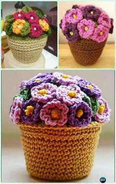 African Violet Flower Crochet Pattern Free | Crochet 3D Flower Bouquet Free Patterns | Flower bouquets ...