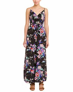 "YUMI KIM ""Cleo"" Black Blossom Print Silk Maxi Dress"