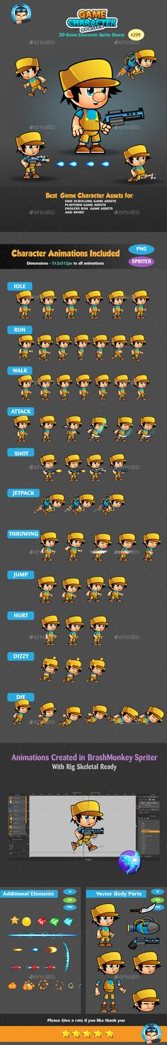 2D Game Character Sprites Design Template 299 - Sprites Game Assets Design Template Vector EPS, AI Illustrator. Download here: https://graphicriver.net/item/2d-game-character-sprites-299/19350066?ref=yinkira