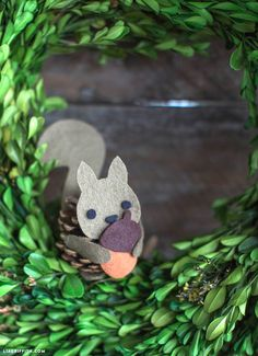 Pinecone Felt Squirrel
