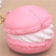 cute small light pink macaron with white cream squishy cellphone charm kawaii 2