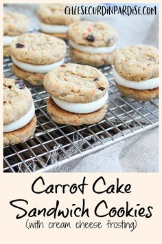 Small soft cookies filled with fresh carrots, raisins, and brown sugar inspired by traditional, and fan favorite, carrot cake. Sandwiched between the cookies is creamy and smooth cream cheese frosting studded with sweet vanilla flavors. An easy and simple treat that is perfect for spring.