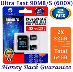 Amplim 32GB microSD Card Pack Plus Adapter (Class 10 Micro SD Extreme Pro UHS-I microSDHC Memory Reader). Ultra High Speed 32 gb SDHC UHS-1 TF Flash Adaptor Duo. 32g 90MB/s 600X hc class10 Performance