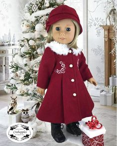Classic Red Wool Coat -TWO Lined Hats - Fur Collar - Embroidered detail - for 18 inch doll
