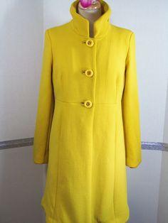 J.Crew Coat Size 10 Mustard Yellow Wool Blend RN#77388 Fall Winter #JCrew #DressCoat