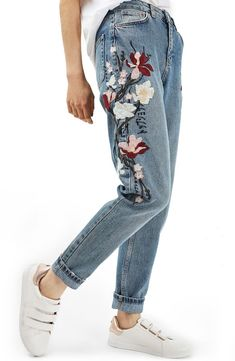 Topshop Mom Embroidered Jeans available at #Nordstrom