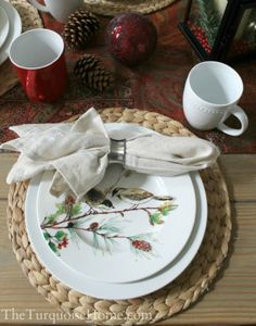 I set my Christmas table with these beautiful accent plates from @HomeGoods. They are Winter Song by Lenox and can be used through Christmas and the rest of winter. I just LOVE them! Find more details at my Christmas Home Tour 2013 | TheTurquoiseHome.com