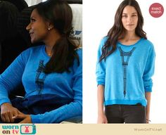 I WANT!!!! Mindy's blue upside-down Eiffel tower sweater on The Mindy Project: