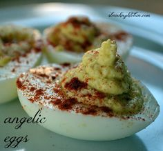 Angelic Eggs - low carb - something different and it has pureed cauliflower Appetizer Recipes, Snack Recipes, Appetizers, Snacks, Easter Recipes, I Love Food, Good Food, Yummy Food, Healthy Food
