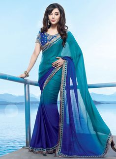 Drishyam Ombre Turquoise N Blue Saree