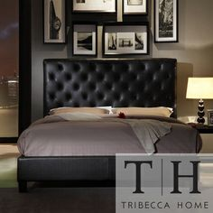 TRIBECCA HOME Sophie Tufted Dark Brown Faux Leather Queen-size Platform Bed | Overstock.com Shopping - Great Deals on Tribecca Home Beds
