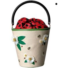 Charlotte Olympia Picnic Bucket Bag (Multicolour Linen/Calfskin/Crepe... ($683) ❤ liked on Polyvore featuring bags, handbags, beige, floral purse, bucket purse, polka dot handbags, beige handbags and beige purse