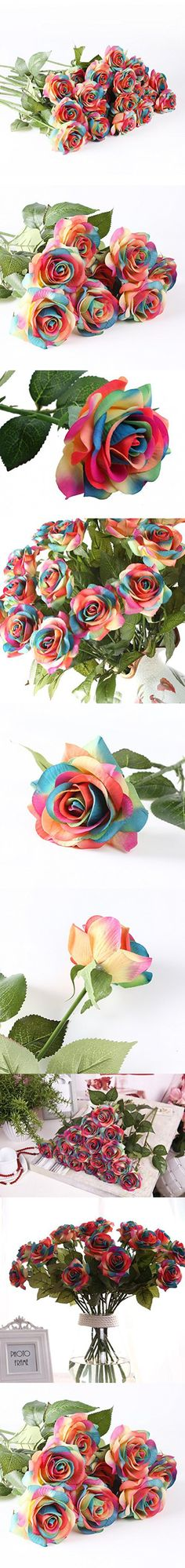 DIY Artificial Silk Craft Flowers for Bouquets, Weddings, Wreaths, & Crafts, Single Closed Rose Bud Stem 1 Bunch of 12pcs (Rainbow)