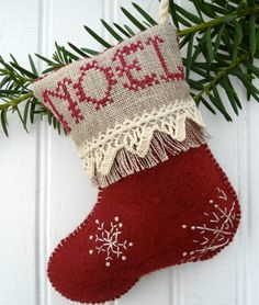 Noel Snowflake Christmas Stocking Ornament by SnowBerryNeedleArts