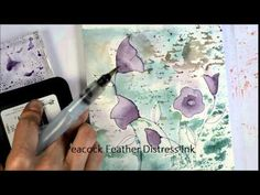 "A tutorial showing how to use a stencil to create a watercolour background. The co-ordinating stamp, ""Charming"" and stencil, ""Flower Dance"" from Penny Black ..."