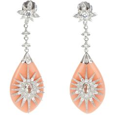 MIRIAM SALAT peach marquis earrings ❤ liked on Polyvore