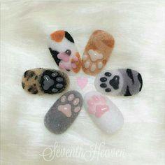 cat paw nails by Cat Nail Art, Animal Nail Art, Cat Nails, Pink Nails, Red Nail, Pastel Nails, Minimalist Nails, Summer Acrylic Nails, Cute Acrylic Nails