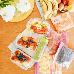 This weeks smoothie prep! I box up three days ahead, prepare one there and then, and all the rest gets chopped, bagged and frozen for when the boxes have all been used up! It's the best way to make sure all the fruit you buy doesn't rot before you can get to it.
