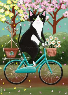 Earth Day Cat on Bicycle – Original Folk Art Painting Earth Day Cat on Bicycle Original Folk Art by KilkennycatArt I Love Cats, Crazy Cats, Cool Cats, Cat Art Print, Fancy Cats, Cat Cards, Here Kitty Kitty, Cat Drawing, Cats And Kittens