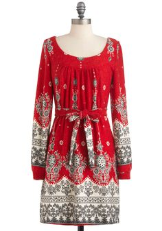 Cinnamon Sensation Dress - Mid-length, Red, Grey, White, Print, Belted, Casual, Holiday, Sheath / Shift, Long Sleeve, Winter