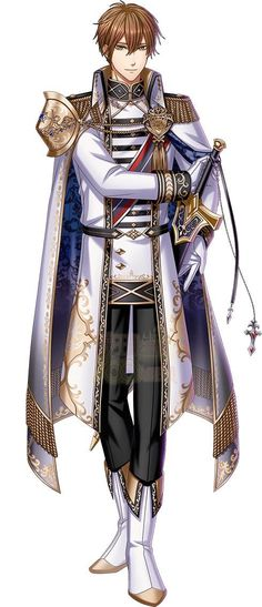 Handsome Anime Guys, Hot Anime Guys, Anime Boys, Fantasy Costumes, Anime Costumes, Knight Outfit, Princes Fashion, Anime Prince, Queen Outfit